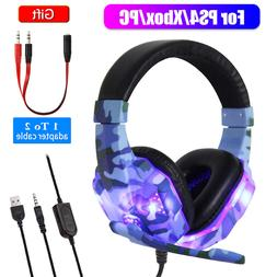 Gaming Headset MIC LED Headphones for PC Laptop PS4 Pro Xbox