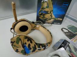 NEW Beexcellent GM-500 Gaming Headset Mic Camo Blue LED Ligh
