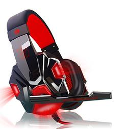 Aoile Over Ear Gaming Headset with Mic and LED Light for Lap