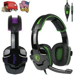 PC Computer Gaming Headset Stereo Sound Headphone Ear pad wi