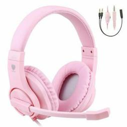 PINK Professional Gaming Headset Girls Mic Wired Stereo Head
