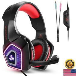 Professional Gaming Headset Headphone With Mic+7LED Light Fo