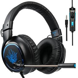 3.5mm Wired Over Ear Bass Stereo Gaming Headphones with Mic