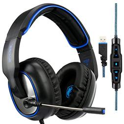 Sades R7 Over Ear Stereo Bass Gaming Headset, USB Headset 7.
