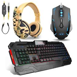 Rainbow Gaming Keyboard and Mouse HeadSet Multi-Color Changi