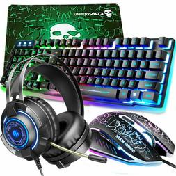Rainbow Gaming Keyboard Mouse Headset Mice Pad Backlit 4in1