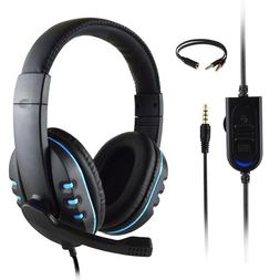 Red/Blue Gaming Headset Stereo Headphone 3.5mm Wired Mic For