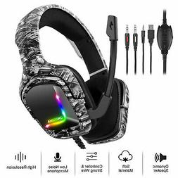 RGB Gaming Headset Stereo Headphones Noise Cancelling Mic Fo