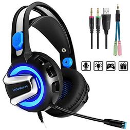 PHOINIKAS Stereo Gaming Headset for PS4 Xbox One PC with Mic