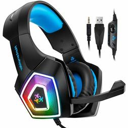 Stereo Gaming Headset Surround Sound Over-Ear Headphones Wit