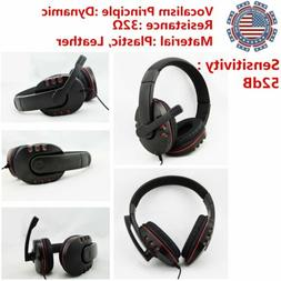 Universal 3.5mm Wired Gaming Headset Headphone w/ MIC For WI