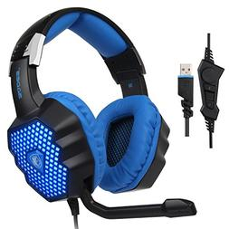 SADES Updated A70 USB Stereo Gaming Headset Over-Ear Headpho