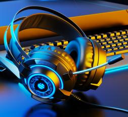 US RGB Gaming Headset MIC LED Headphones for PC Laptop PS4 P