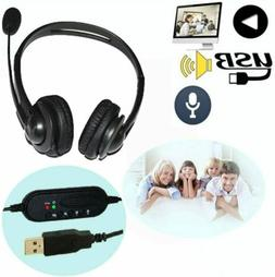 USB Noise Cancelling Microphone Headset for Office/Gaming On