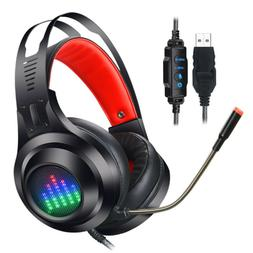 USB Wired Stereo Gaming Headset LED Headphone Microphone For