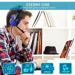 Wireless Gaming Headset with Mic and LED Light Laptop Comput