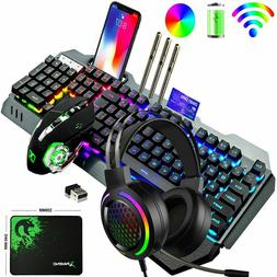 Wireless Rechargeable Gaming Keyboard Mouse + RGB Headset Se