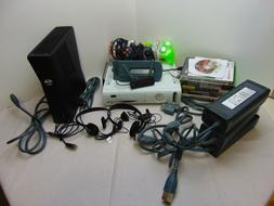 Xbox 360 w/ Controllers/ Games/ Power Supply/ Headset/ AV Co