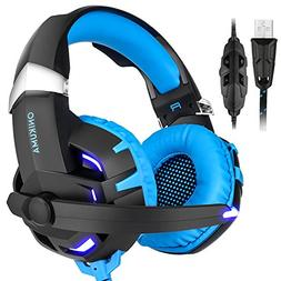 BASEIN Gaming Headphone, USB 7.1 Channel Noise Cancelling Ov